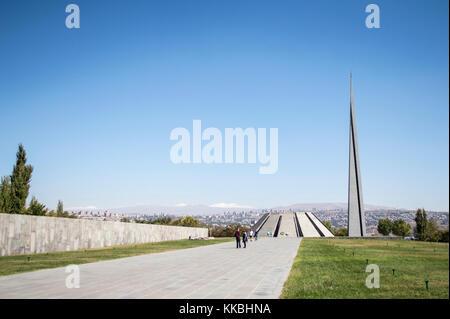 Yerevan, Armenia - October 8, 2017: Tsitsernakaberd - the Armenian Genocide Memorial in Yerevan, Armenia. Built - Stock Photo