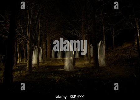 Picture of a group of ghosts in the middle of the forest with total darkness and made with the lightpainting technique - Stock Photo
