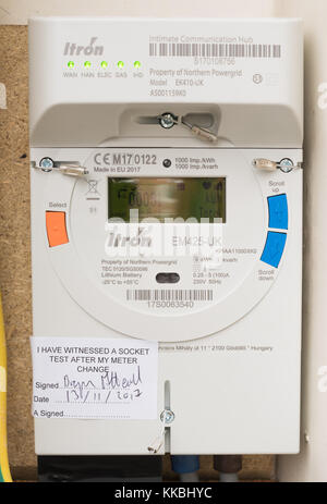 Northern Powergrid Itron smart electric meter with an Intimate Communications Hub fitted in a domestic house, north - Stock Photo