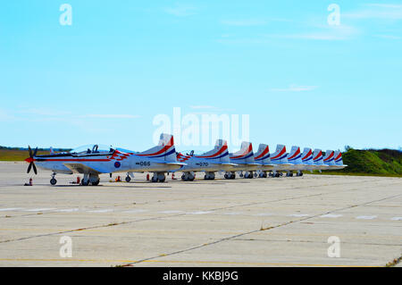 Croatian AF aerobatics team Krila Oluje  planes, Pilatus PC9 resting on the airport apron before the flight , Zemunik - Stock Photo