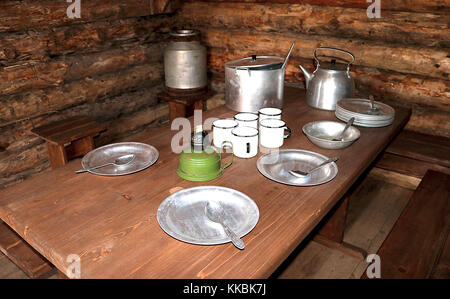 Dining room of russian partisans in the dugout of World War II. Military guerrilla kitchen in dugout interrior. - Stock Photo