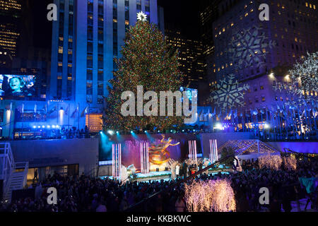 New York, NY - November 29, 2017: Atmosphere during the 85th Rockefeller Center Christmas Tree Lighting at Rockefeller - Stock Photo