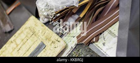 brown parts of handbags - Stock Photo
