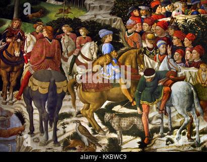 Giuliano de' Medici as a teenager with Leopard . Fresco by Benozzo Gozzoli, Cappella dei Magi by Benozzo Gozzoli - Stock Photo