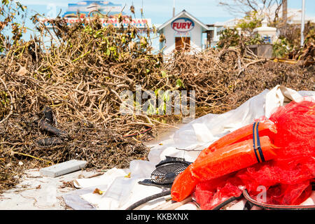 Debris litters the street in the aftermath of Hurricane Irma September 15, 2017 in Key West, Florida.  (photo by - Stock Photo