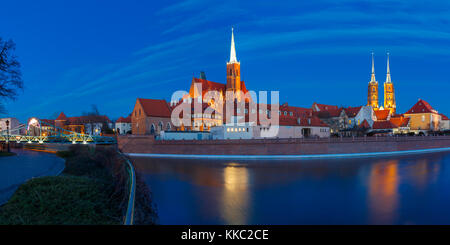 Cathedral Island at night in Wroclaw, Poland - Stock Photo