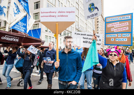 New York City, USA - April 22, 2017: March for Science - Stock Photo