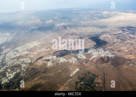 LANZAROTE, SPAIN-11th Nov 2017: An aerial view of  Arrecife and Tahiche on the east coast of the Canary Island. - Stock Photo