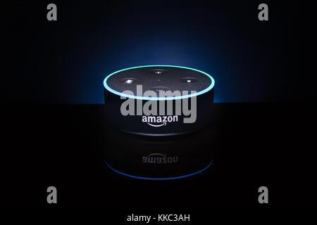 An Amazon 'Alexa' Echo Dot device - Stock Photo