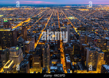 Aerial view of Philadelphia with city streets converging towards the edge of the metropolitan area - Stock Photo