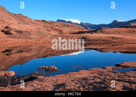 Clear skies on mountain lake and red earth - Stock Photo
