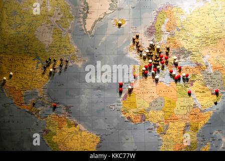 Travel concept with flag pushpins and world map stock photo picture of world map travel concept with many pushpins pins stock photo gumiabroncs Choice Image