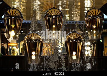Tom Dixon pendant lights hanging in the Liberty of London store, Regent Street London UK. - Stock Photo