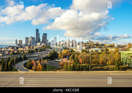 cityscape of los angeles and busy elevated road - Stock Photo