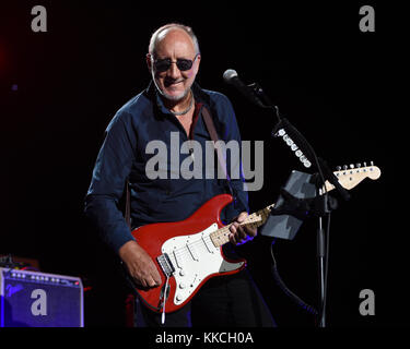 JACKSONVILLE, FL - APRIL 19: Pete Townshend of The Who performs at the Jacksonville Veterans Memorial Arena on April - Stock Photo