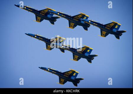 The US Navy fight demonstration squadron, the Blue Angels, demonstrate choreographed flight skills during the annual - Stock Photo