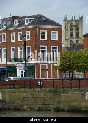 View from Humber Quayside towards Holy Trinity Church, Kingston upon Hull, United Kingdom - Stock Photo