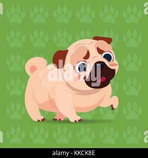 Pug Dog Happy Cartoon Sitting Over Footprints Background Cute Pet - Stock Photo