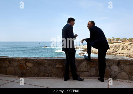 June 18, 2012 'We were in Mexico for tk summit. While the President was waiting for Russian President Vladimir Putin - Stock Photo