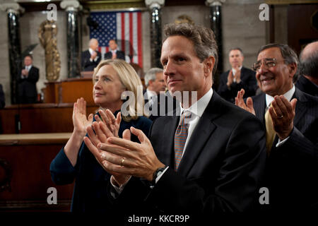 Secretary of State Hillary Rodham Clinton, Treasury Secretary Timothy Geithner and Defense Secretary Leon Panetta - Stock Photo