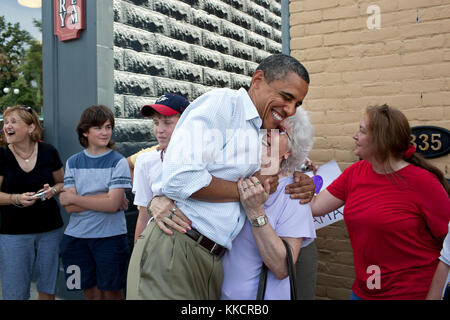 President Barack Obama greets people outside the Old Market Deli in Cannon Falls, Minn. Aug. 15, 2011. The President - Stock Photo