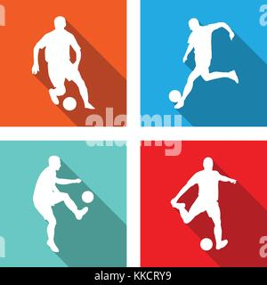 soccer silhouettes on flat icons for web or mobile applications - vector - Stock Photo