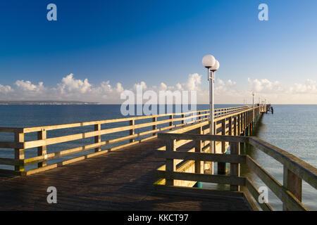 Evening on the Pier in Binz, Ruegen Island, Germany - Stock Photo