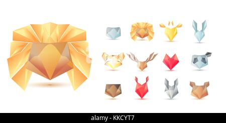 Big set of polygonal geometric multicolor animals head symbol shapes. Trendy icons and logotypes. Business signs - Stock Photo