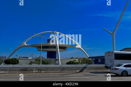 Los Angeles, California, USA - July 9, 2017: LAX, International Airport, the iconic space age theme building - Stock Photo