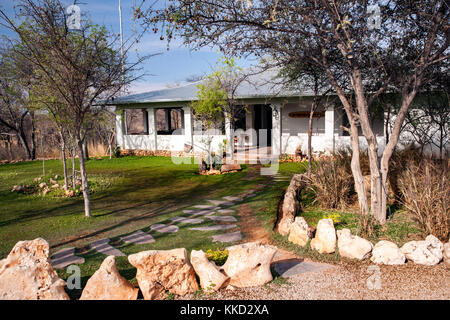 Reception area at Tamboti Luxury Campsite, Onguma Game Reserve, Namibia, Africa - Stock Photo