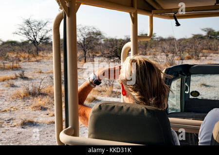 Woman on Game Drive in Onguma Game Reserve, Namibia, Africa - Stock Photo