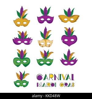 carnival mardi gras set of colorful mask with feathers - Stock Photo