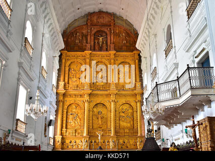 Interior view of Se Cathedral or Cathedral of St. Catherine of Alexandria, Old Goa, India. - Stock Photo
