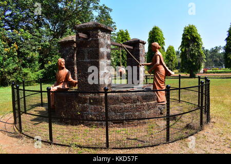 A scene in the backyard of Se Cathedral, Old Goa, India. - Stock Photo