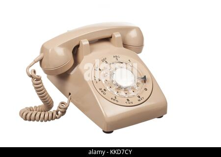 close up shot of a landline phone - Stock Photo