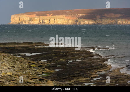 Dunnet Head is a peninsula in Caithness, on the north coast of Scotland,. It is the most northerly point of the - Stock Photo