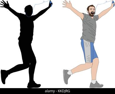 happy man running with earphones illustration and silhouette - vector - Stock Photo