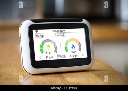 Domestic Energy Smart Meter on a Kitchen Worktop Displaying Electric and Gas Carbon Emissions in Real Time - Stock Photo