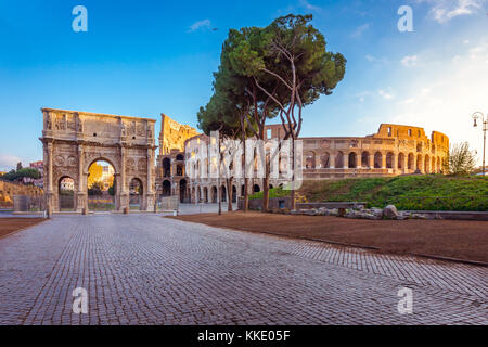 Beautiful view over Colosseum and Arch of Constantine in the morning in Rome, Italy, Europe - Stock Photo