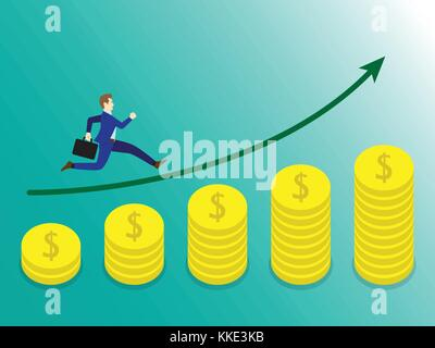 Business Concept As A Businessman Is Running On Growth Coins Graph. He Is Enjoying The New Growth Of Income And - Stock Photo