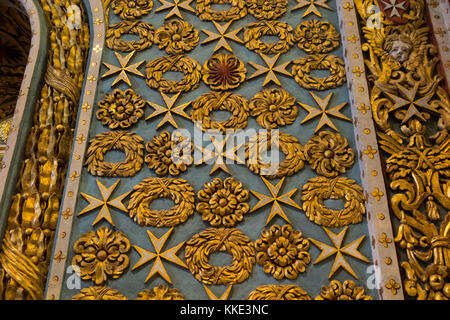 Decorated walls in the nave / interior inside of St John's Co-Cathedral. Valletta, Malta. Surface is 3 dimensional, - Stock Photo
