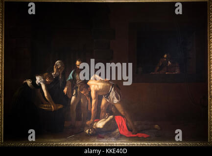 The Beheading of St John the Baptist;  painting by Italian master Michelangelo Merisi da Caravaggio, in the Oratory - Stock Photo