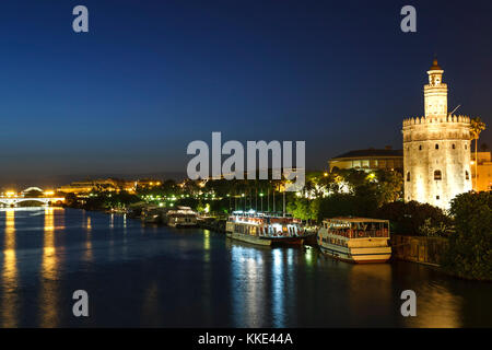 La Torre del Oro (Gold Tower) and Guadalquivir River, Seville, Spain - Stock Photo