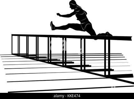 Vector silhouette of running sportswoman jumping over hurdle. Female athlete on hurdle sprint race - Stock Photo