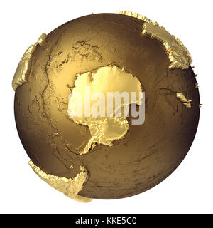 Golden globe model without water. Antarctica. 3d rendering isolated on white background. Elements of this image - Stock Photo