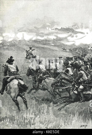 Battle of Blenheim, the charge of Marlborough's horse, 13 August 1704,  War of the Spanish Succession. - Stock Photo