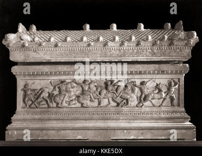 The Alexander Sarcophagus which dates from the 4th century BC.  The sarcophagus, which which was discovered in Sidon, - Stock Photo