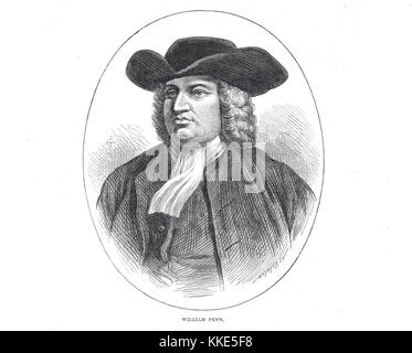 William Penn, founder of the State of Pennsylvania - Stock Photo