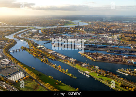 Duisport, view of the harbor, Rhine-Herne Canal and Ruhr, Rhine, Ruhr estuary, Duisburg, Ruhr area, North Rhine - Stock Photo