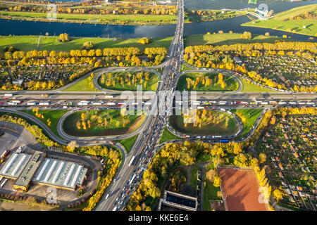 Autobahnkreuz Kleeblatt, A40 and A59 to rushhour, traffic jams on the A40 near Duisburg, allotment gardens, allotment - Stock Photo